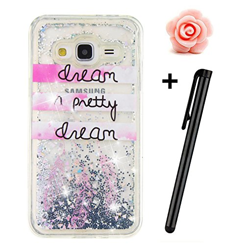 Samsung Galaxy J3 Glitter Case,TOYYM Transparent Clear Floating Sparkle Bling Glitter Case for Samsung Galaxy J3,3D Creative Funny Cute Moving Love Hearts Star Funny Quote Dreamcatcher Design Tpu Protective Shell Case Cover for Samsung Galaxy J3 (2016) J310 Test