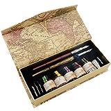 GC Kalligraphie Stifte Geschenkset mit 6 Federspitzen und 5 Flaschen Tinte Federhalter