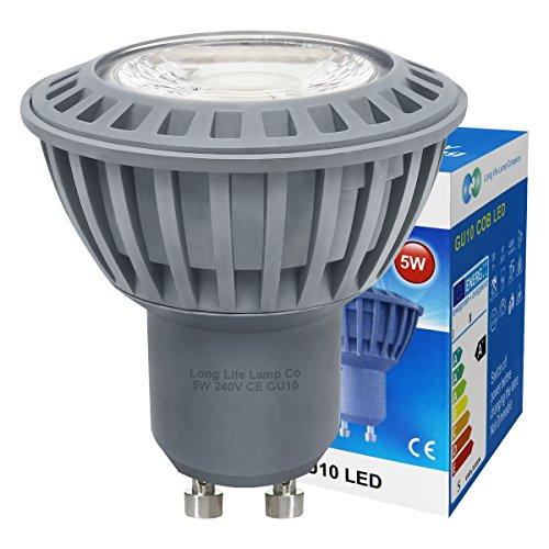 Long Life Lamp Company 10Stück GU105W COB LED Cool White Farbe 50W Ersatz für Halogenlampe mit neuer Chip-Technologie ausgestattet (Cool White Led-chip)