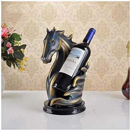 Xiuxiu europeo creativo testa di cavallo cremagliera del vino decorazione moderna minimalista salotto armadietto del vino ristorante personalità decorazione arredi per la casa (color : blue)