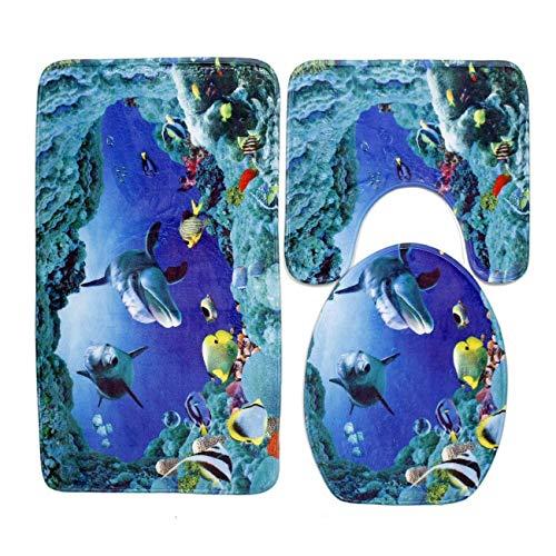 Sheer Lip Liner (Qian Mu888 Bath Rug Mats Set 3 Piece Non-Slip Absorbing Water Bathroom Floor Mat Contour Rugs Lid Cover (Underwater World))