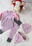 Babyset Babyhose, Pullover, Mütze, Tuch, rosa Monsterset (Gr. 56)