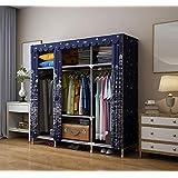 ZC&J Britischen Stil Tuch Kleiderschrank Haushaltsschränke, manuelle Montage und leicht zu bewegen Kleiderschrank, Oxford Tuch Stoff,B,57*66*18inch