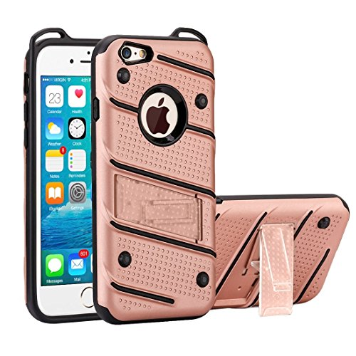 Charm Knight Abnehmbare PC + TPU Kombination Schutzhülle mit Halter für iPhone 6 Plus & 6s Plus by diebelleu ( Color : Red ) Rose gold