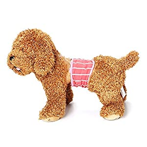 Ogquaton 1 PCS Coton Doux Pet Sanitaire Pantalon Respirant Chien Couche Hygiène Physiologique Nappy Wrap pour Utilisation À L'intérieur À L'extérieur