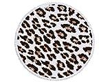 panpa Komfort Leopard Muster Rund Strandtuch, bedruckt mit Quasten Super Wasser absorbierenden Casual Style-Handtuch, weiches Mikrofaser Decke (150x 150cm