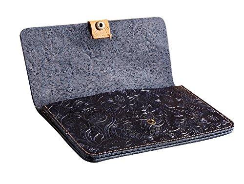 Genda 2Archer Vera Pazzesco del Cuoio di Cavallo Portafoglio Fiore Figura Borsa per le Donne (10.5 cm* 1cm * 17.5cm) (Marrone) Blu