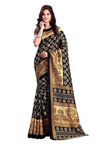 ISHIN Bhagalpuri Silk Black & Beige Printed Women's Saree.  available at amazon for Rs.499