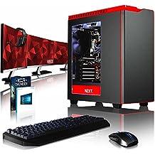 """VIBOX Armageddon GM760-660 Komplett-PC Paket Gaming PC - 4,2GHz Intel i7 Quad Core CPU, Geforce GTX 1060, leistungsfähig, Wassergekühlter Desktop Gamer Computer mit Spielgutschein, 3x Dreifach 27"""" Monitor, Gamer Tastatur & Mouse, Windows 10, lebenslange Garantie* (4,2GHz Intel i7 7700 Quad 4-Core CPU, MSI Nvidia GeForce GTX 1060 3GB Grafikkarte, 16GB Team 3000MHz DDR4 RAM, HyperX Savage 120GB SSD, 2TB Festplatte, Corsair H100i GTX Wasserkühler)"""