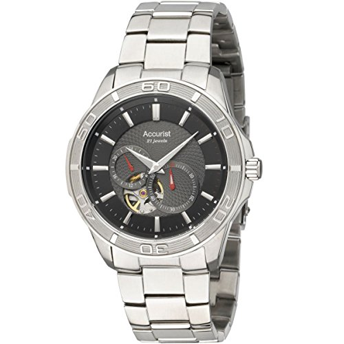Accurist Men's Quartz Watch with Black Dial Analogue Display and Silver Stainless Steel Bracelet MB912B.01