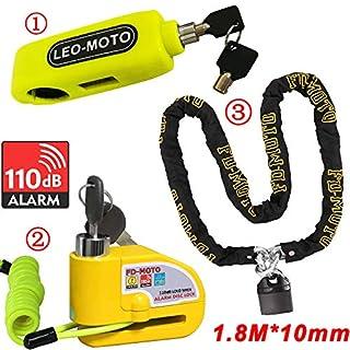 FD-MOTO 10mm*1.8m Motorbike Heavy Duty Chain Lock PadLock + 110db Alarm Disc Lock Yellow + Motorcycle Handlebar Throttle Grip Lock
