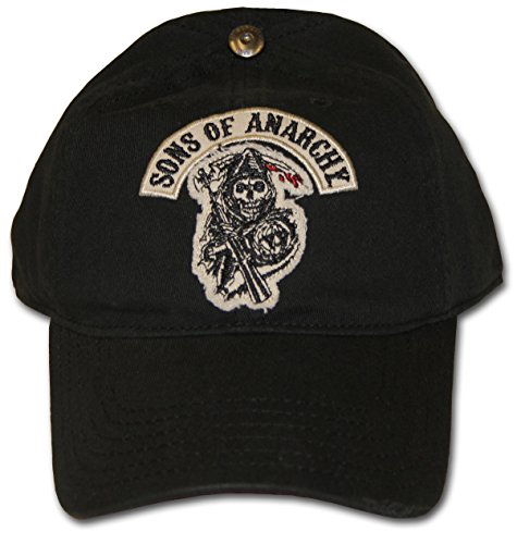 TV Store Soa Sons Of Anarchy Applique Art Stretch schwarz Fitted Baseball Kappe Hut (Medium/Large)