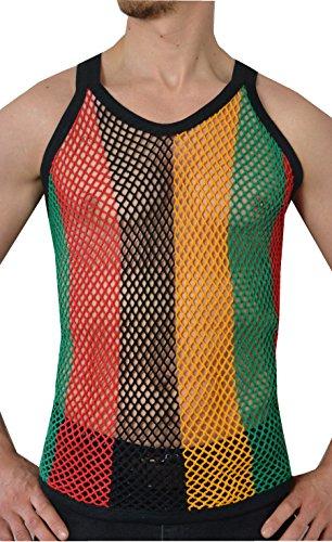 Herren 100% Baumwolle, Mesh - Netz - Weste (Medium, Black/Red/Gold/Green)