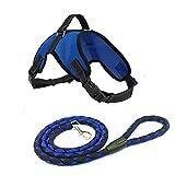 DESESHENME Dog Step-In Classic Dog Harness Guinzaglio per cani, circonferenza toracica 45cm-92cm Dog Chain lunghezza 150cm Bardatura regolabile per cani, blu, S
