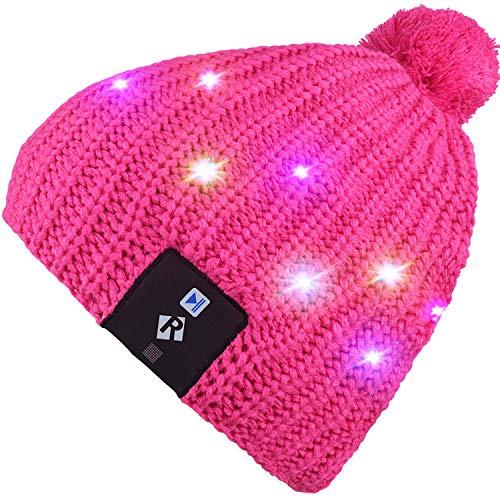 Qshell LED String Leuchten Beanie Hut Strickmütze mit Kupferdraht Bunte Lichter 4 Füße 18 LEDs für Männer Frauen Indoor und Outdoor, Festival, Feiertag, Feiern, Parties, Bar, Rose