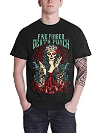 Five Finger Death Punch T Shirt Lady Muerta Band Logo Official Mens Black
