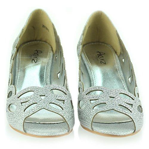 Frau Damen Abend Party Hochzeit Peeptoe Diamante Keilabsatz Sandale Schuhe Größe Silber