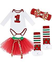iEFiEL Conjunto Infantil de Carnaval Navidad Reyes Fiesta Body Pelele + Falda Estilo de Vestido Algodón para Bebé Niña Recién Nacido