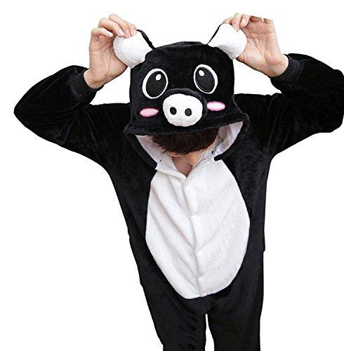 Imagen de abyed kigurumi pijamas unisexo adulto traje disfraz adulto animal pyjamas,cerdo negro adulto talla xl para altura 175 183cm