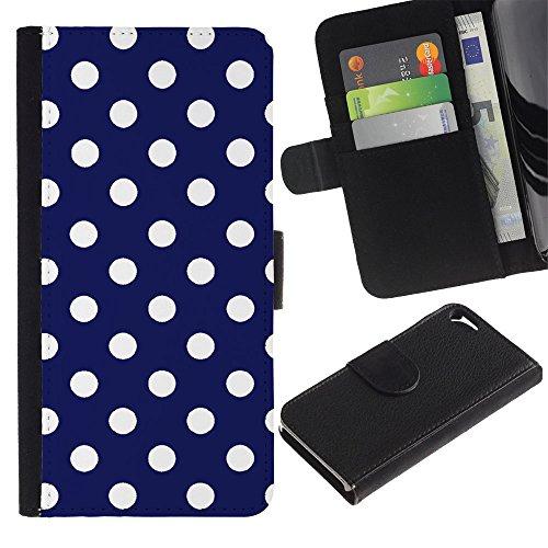 Graphic4You Polka Punkt Dots Muster Design Brieftasche Leder Hülle Case Schutzhülle für Apple iPhone SE / 5 / 5S (Marineblau) Marineblau