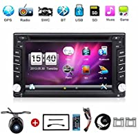 Radio para coche universal, con cámara. Sistema de navegación GPS doble din de 6,2pulgadas, montada en salpicadero, reproductor de DVD estéreo para coche, pantalla táctil con bluetooth, USB, SD, MP3