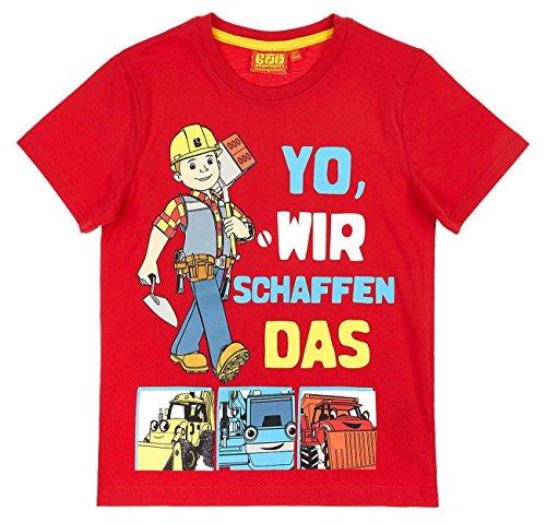 Bob der Baumeister Kollektion 2018 T-Shirt 92 98 104 110 116 122 128 Shirt Jungen Neu Rot (Rot, 104-110)