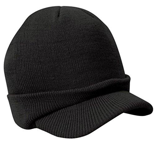 Gazechimp Unisexe Chapeau d'Hiver Tricoté Mode Casquette Souples Chaud Extensible avec Visière Noir