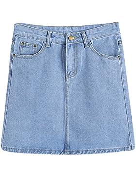 Mujeres Falda De Mezclilla Con Bolsillo Corta Mini Vaquera Faldas Cintura Alta