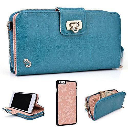5d59736678b8 51sowlWiO9L - Kroo Clutch Wallet Wristlet Handbag for Apple iPhone 6 Plus  5.5 Inch with Detachable