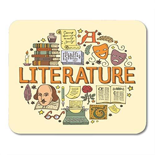 Mauspads, Buch bunte Shakespeare Literatur mit Kritzelbildern und Objekten, in Kreisen angeordnet, antikes klassisches Mauspad für Notebooks, Desktop-Computer, Matten 7,2 x 22,7 cm