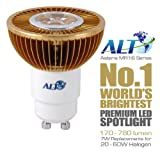 AMAZING PRICE! - Now only £8.99! - ALT Asteria Super-Bright LED SPOT LIGHT, GU10, 7W, 520 lumens (74 lm/W), Warm white (3000k), 38º beam angle. The world's brightest MR16 LED spot light at a huge discount. Direct replacement for 50W halogen. Lowest exclusive internet price
