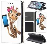 Samsung Galaxy J7 2017 J730 Hülle von CoverHeld Premium Flipcover Schutzhülle Flip Case Motiv (1054 Giraffe Handy Braun Weiß Pink)