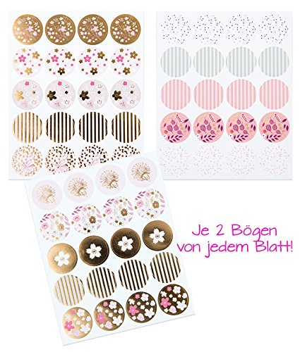 Set mit 120 Stück florale edel besondere glänzende 3 cm Sticker Aufkleber in gold, rosa, weiß, pink, pastell-farben, runde Etiketten zum Aufkleben, Verzieren, Verpacken von Geschenken