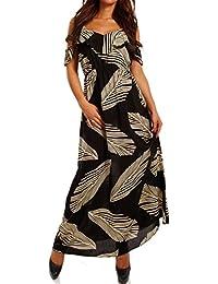 Damen Maxikleid mit Volant Bohemian Bodenlanges Kleid Strandkleid