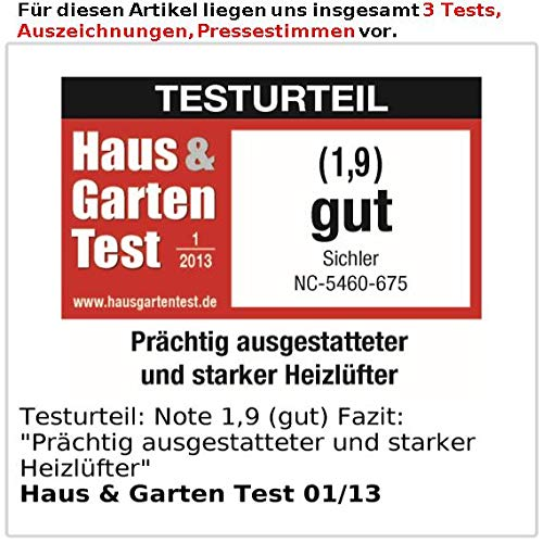 Sichler Keramik Lüfter: Digitaler Keramik-Heizlüfter mit Thermostat & Oszillation, FB, 2.000 W (Standheizung) - 5
