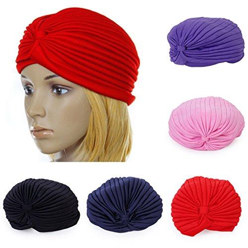 Generic Women's Polyester Pleated Turban Head Wrap Headwrap Cap Twist Hat (Red)