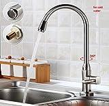 Auralum® Moderno Grifo de Cocina Monomando para Fregadero de Lavabo Grifería para Cocina 360°Rotación Mezclador Grifo fría único del Grifería, Color P