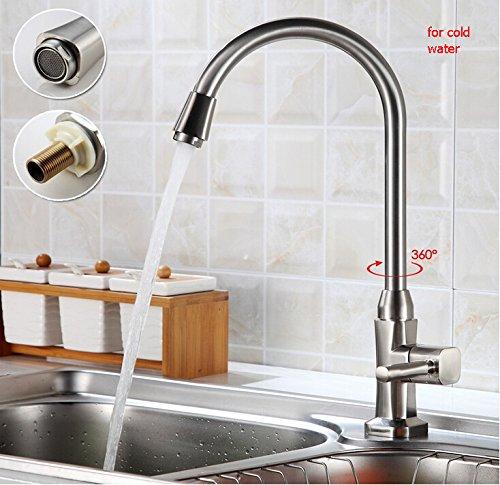 Auralum® Moderno Grifo de Cocina Monomando para Fregadero de Lavabo Grifería para Cocina 360°Rotación Mezclador Caliente y Fría del Grifería, Color Plateado