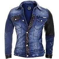 D&R Fashion Denim Leggero Uomini Rivestimento con Finiture in Ecopelle e Tasche