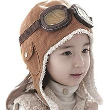 TININNA nvierno del bebé Niños Chicos Caliente Beanie Piloto Aviador ganchillo Earflap Sombreros Caps Marrón