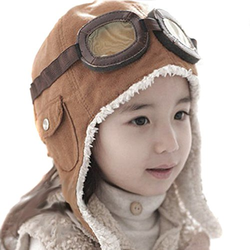 TININNA super cool Pilota Aviatore Berretto in pile Cappello con earmuffs per il Bambino Ragazze Marrone