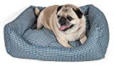 Wick-Away Water Resistant Fashion Designer Rectangular Pet Dog Bed, Medium, Light Blue Plaid,