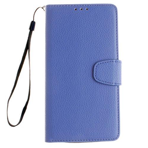PU Leder Blau Schutzhülle für LG V10 case Wallet Schale Tasche Magnet Silikon Back Cover Etui Skin Shell Purse Handyhülle Standfunktion Kredit Kartenfächer Folio Bookstyle mit Weich TPU Innere