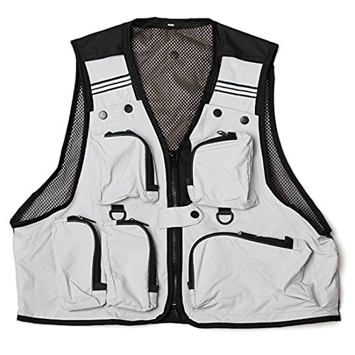 Chaleco de pesca - SODIAL(R) Ligero,comodo, Chaleco de red de multi bolsillos pesca Chaleco de trabajo de caza Chaleco al aire libre Blanco L