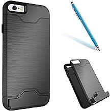 """iPhone 6sPlus Funda, [Flip Armor] CLTPY iPhone 6Plus Carcasa 2 en 1 Cubierta de Plástico y Silicona de Primera Calidad con Tarjeta y Kickstands, [Shock-Absorción] [Anti-Arañazos] Back Cover para el 5.5"""" Apple iPhone 6Plus/6sPlus (No iPhone 6/6s) + 1 x Aguja - Gris A"""