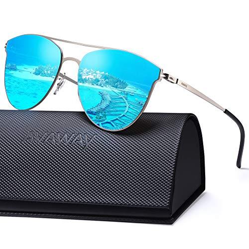 AVAWAY Ultraleicht Verspiegelte Damen Sonnenbrille getönt, übergroße UV400 Sonnenbrille mit Nylon Gläser
