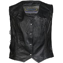 Chaleco de motociclismo para mujer - Estilo clásico - Cuero suave de la mejor calidad - Negro - EU52 - contorno de pecho 127cm
