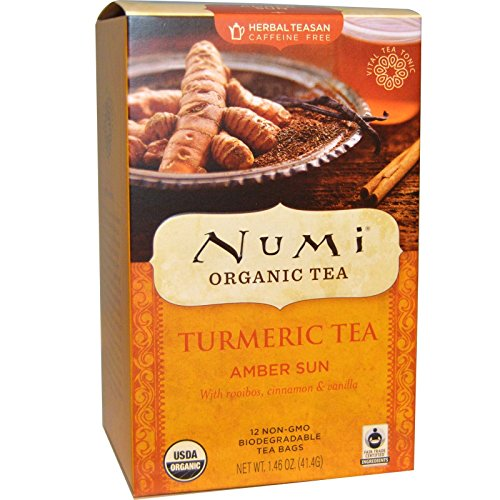 Numi - Organic Turmeric Tea (Amber Sun) - 12 Tea Bags (Pack of 2)