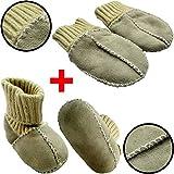 SET Baby Lammfell Babyschuhe + Handschuhe/Fäustlinge (ECHTES LAMMFELL) Mit Strickbündchen ca. 0-6 Monate (HELLGRAU/Schuhgröße 16)
