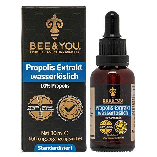 Bee&You Propolis Extrakt Tinktur Wasserlöslich 10% (ohne Alkohol, Standardisiert auf 10%, Fairer handel, Keine Zusatzstoffe) -